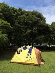 須の川公園テントでウエット干し.jpg